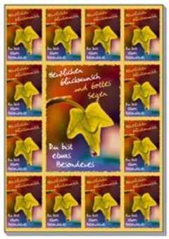 Aufkleber-Gruß-Karten: Herzlichen Glückwunsch (1x12)