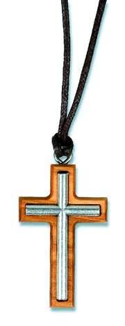 """Halskette """"Kreuz"""" - Silber auf Olivenholz"""